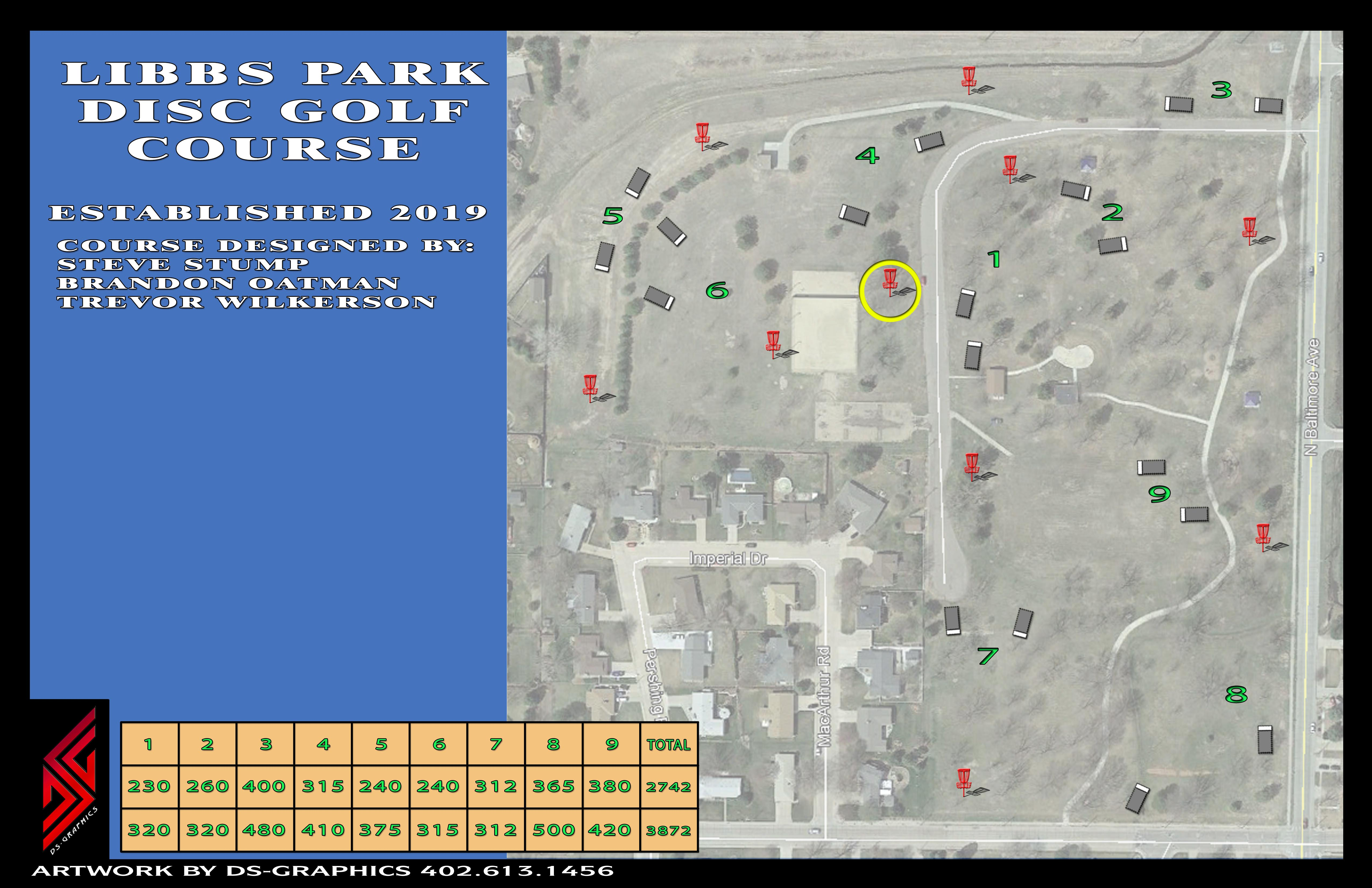 View Larger 9 hole Disc Golf Course Map